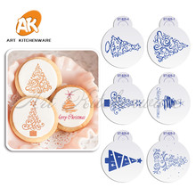 ФОТО 6pcs/set special design christmas trees cake stencil silicone mold for merry christmas baking cookie decoration st-925