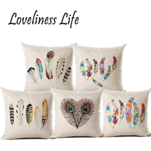 Nordic Feather Vintage Cotton Linen Cushion Cover Bed Pillowcases Throw Pillow National Covers Decorations 45x 45cm Cojines