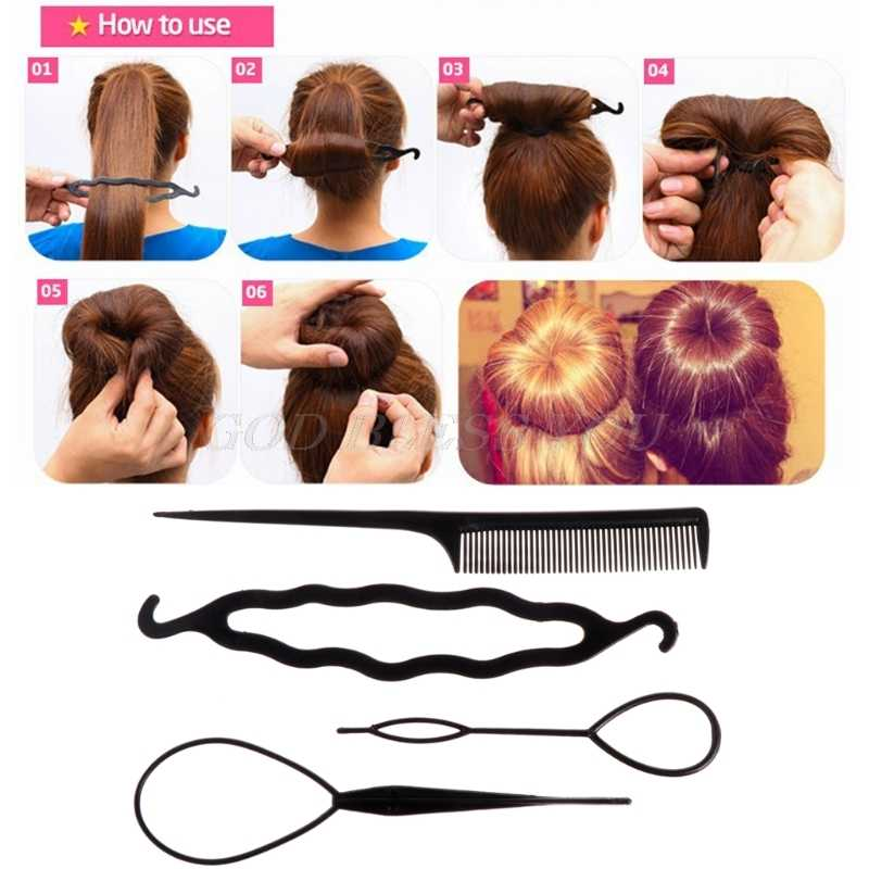 4Pcs Easy Plastic Topsy Tail Hair Braid Ponytail Styling Maker Clip Tool new