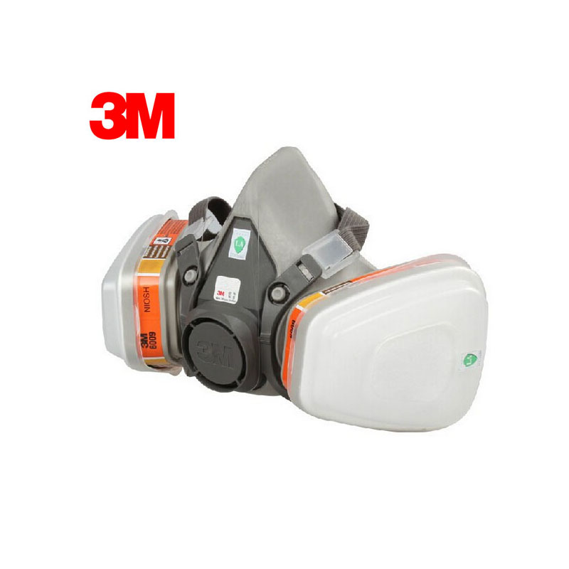 3M 6100+6009 Reusable Half Face Mask Respirator Mercury Organic Vapor Chlorine Acid Gas Cartridge Mask 7 Items for 1 Set E0000 3m 7501 6005 half facepiece reusable respirator mask formaldehyde organic vapor cartridge 7 items for 1 set xk001