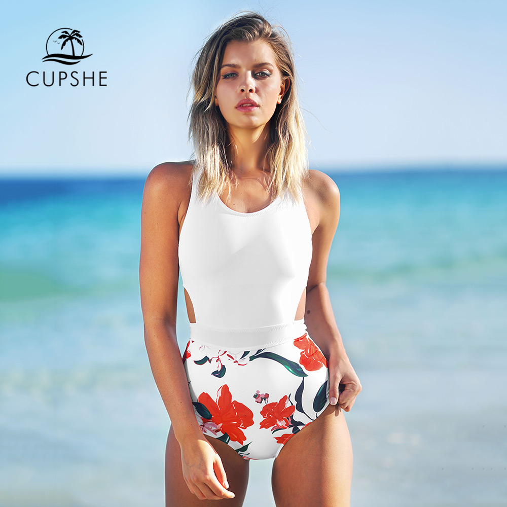 CUPSHE Lilies open Print One-piece Swimsuit Women U Back Cutout Monokini 2018 Girl Beach Bathing Suits Patchwork Swimwear cutout crisscross one piece swimsuit
