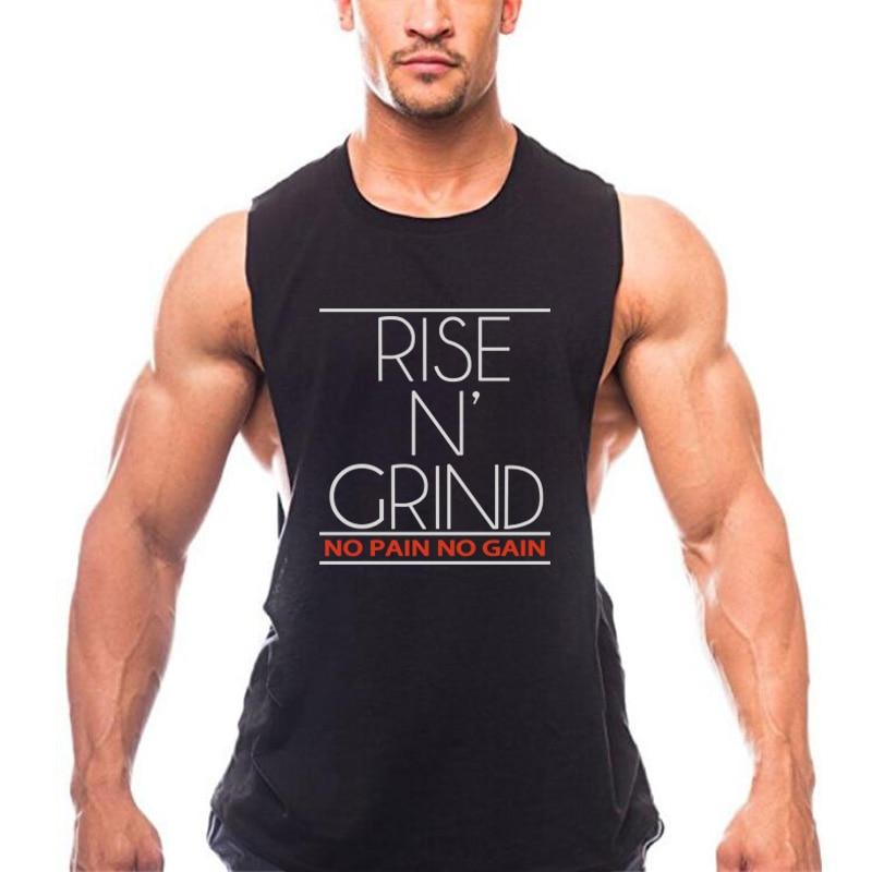 Muscleguys Brand no pain no gain skull gyms stringer tanktops bodybuilding tank top men singlet fitness sleeveless shirt men