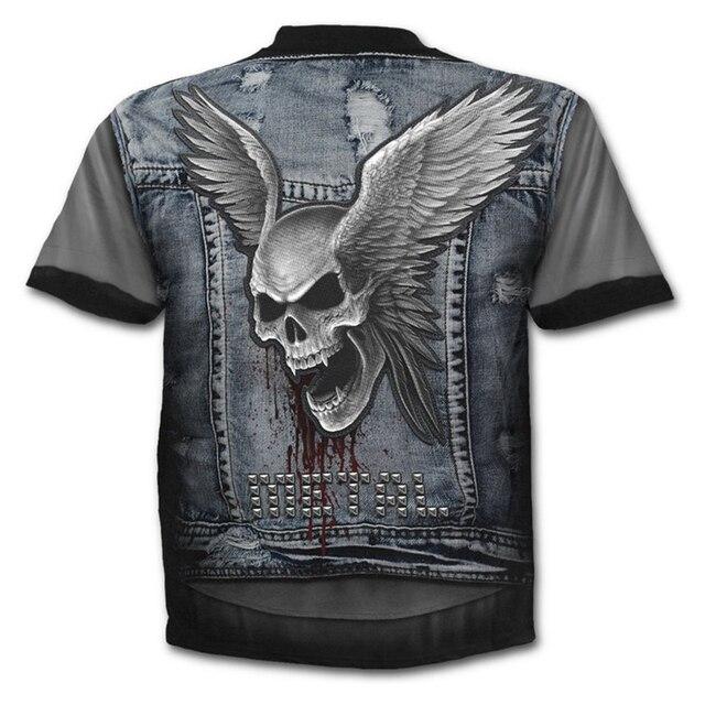 Camiseta ajustada de calidad con estampado 3d para hombre, Top de verano con calavera y cuello redondo Casual para hombre camiseta 1