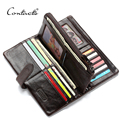 CONTACT'S Brand Classic Men Wallet European&American Crazy Horse Leather Wallets Fashion Purse Card Holder Man Vintage Wallets