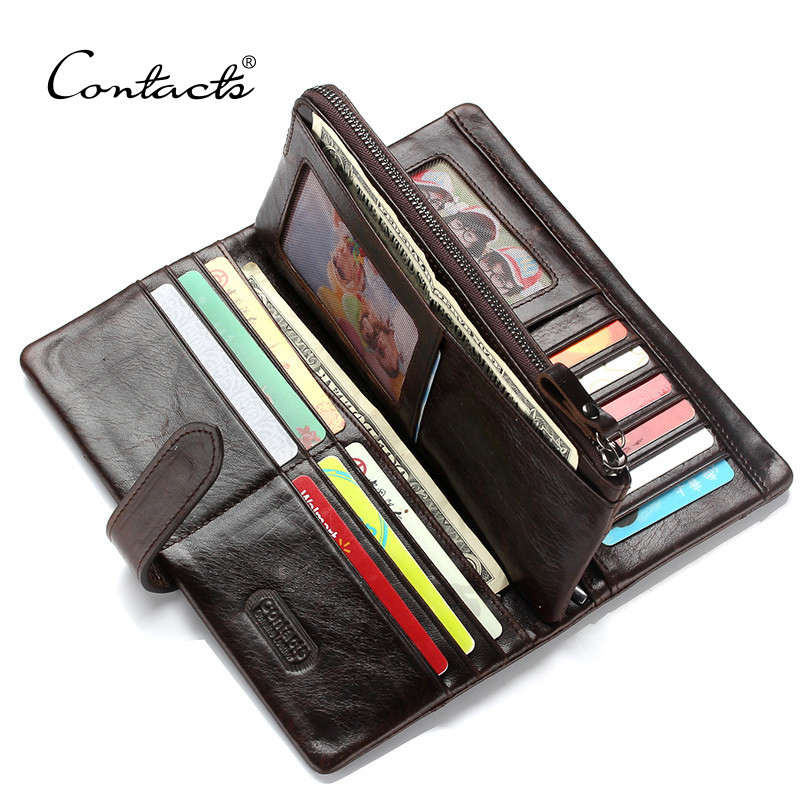 CONTACT'S Men Long Wallets 100% Cow Leather Purse With Phone Bag Fashion Male Clutch Card Holder Cuzdan Portmonee Mens Wallet