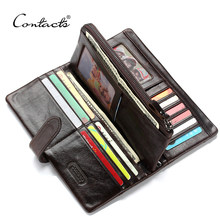 CONTACT'S Men Long Wallets 100% Cow Leather Purse With Phone Bag Fashion Male Clutch Card Holder Cuzdan Portmonee Mens Wallet(China)