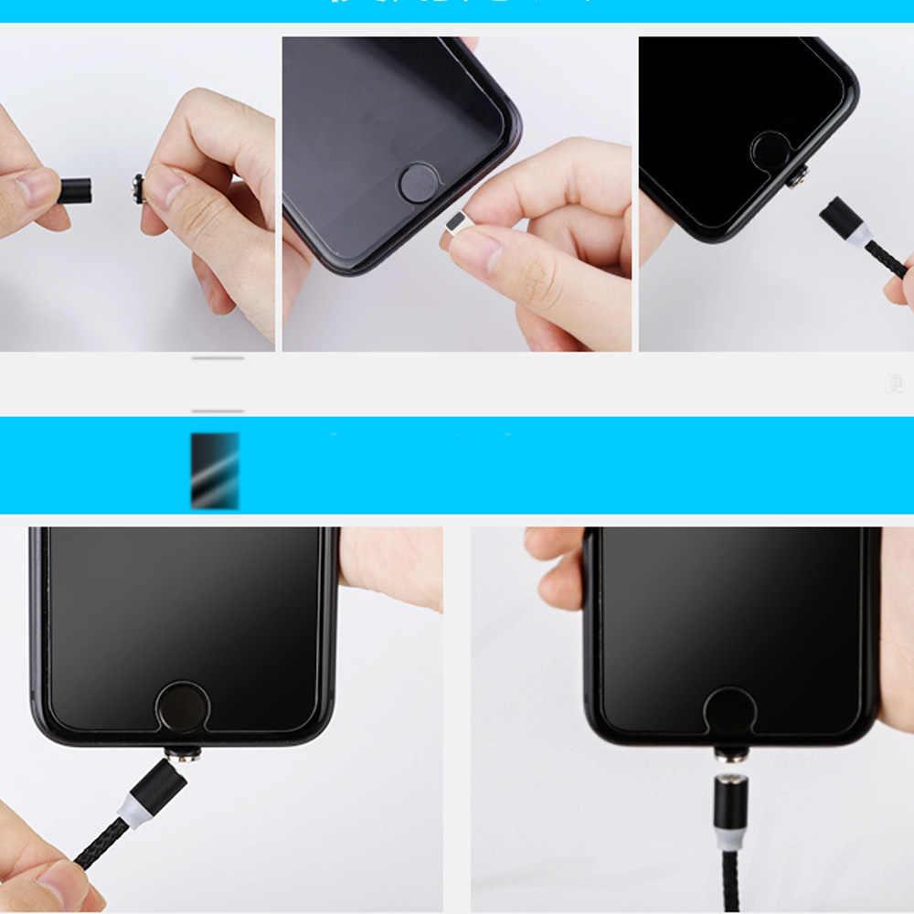 AM17 2 メートル LED 磁気 USB ケーブル iphone Xs 最大マイクロ Usb タイプ C ケーブル三星編組電話ケーブルマグネット充電有線
