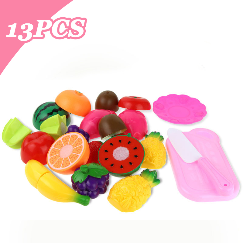 13pcs/lot Children Pretend Role Play House Toy Cutting Fruit Plastic Vegetables Food Kitchen Baby Classic Kids Educational Toys> image
