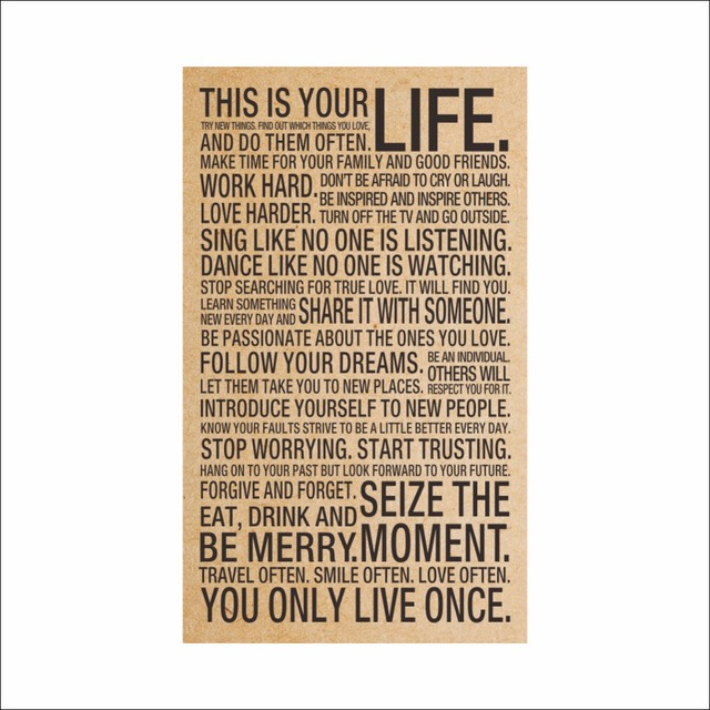 HOT World Popular Quote This Is Your Life Vintage Painting Inspiration  Words Kraft Paper Posters Wall