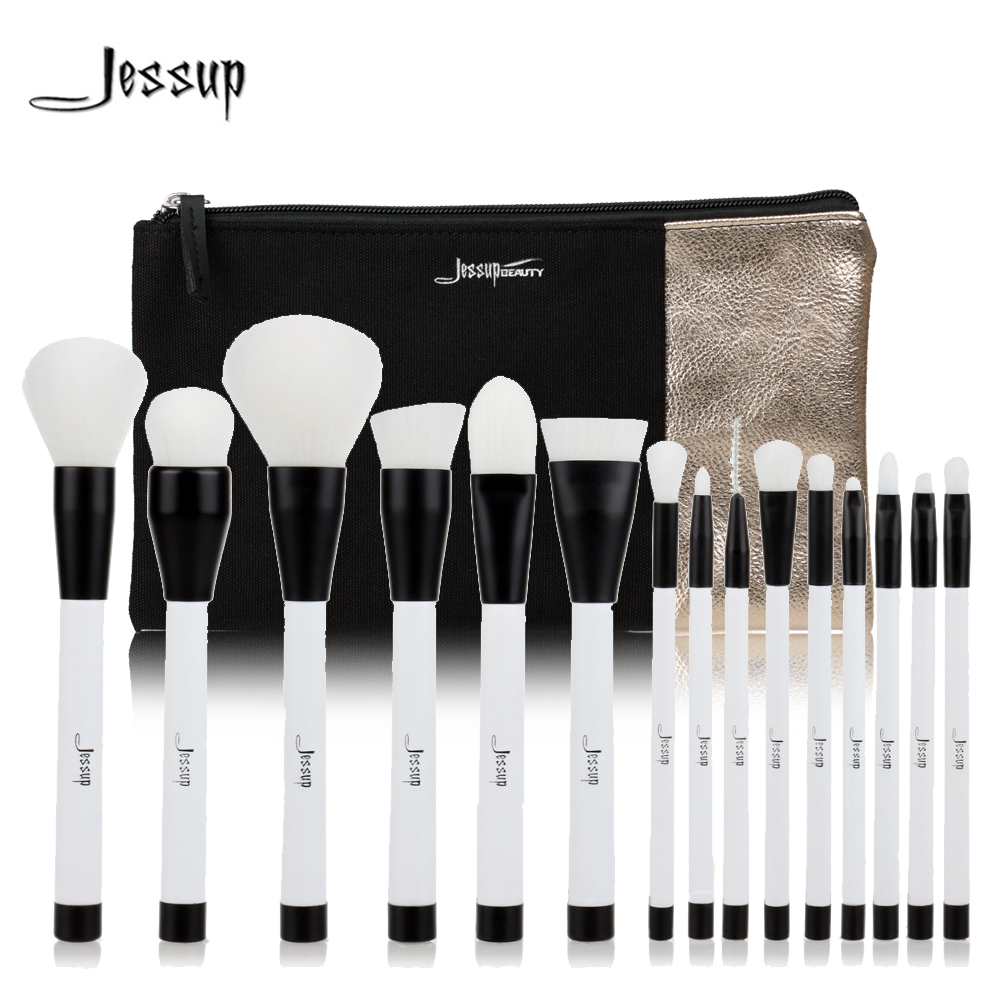 Jessup Brand 15pcs Beauty Makeup Brushes Set Brush Tool Black and White T115 & Cosmetics Bags Women Bag CB002 Make up brush jessup brushes 15pcs beauty makeup brushes set brush tool black and white cosmetics bags t115