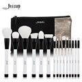 Jessup marca 15 unids belleza pinceles de maquillaje herramienta pincel t115 blanco y negro y bolso de las mujeres bolsos cosméticos cb002