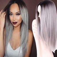Grey ombre wig false hair synthetic wigs for black women 26 long straight natural cheap hair.jpg 200x200