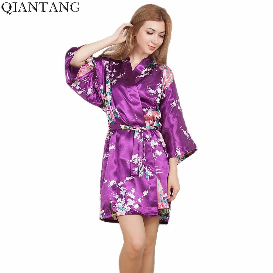 Top Selling Summer Womens Kimono Mini Robe Purple Faux Silk Bath Gown Yukata Nightgown Sleepwear Pijama Mujer One Size Mds005