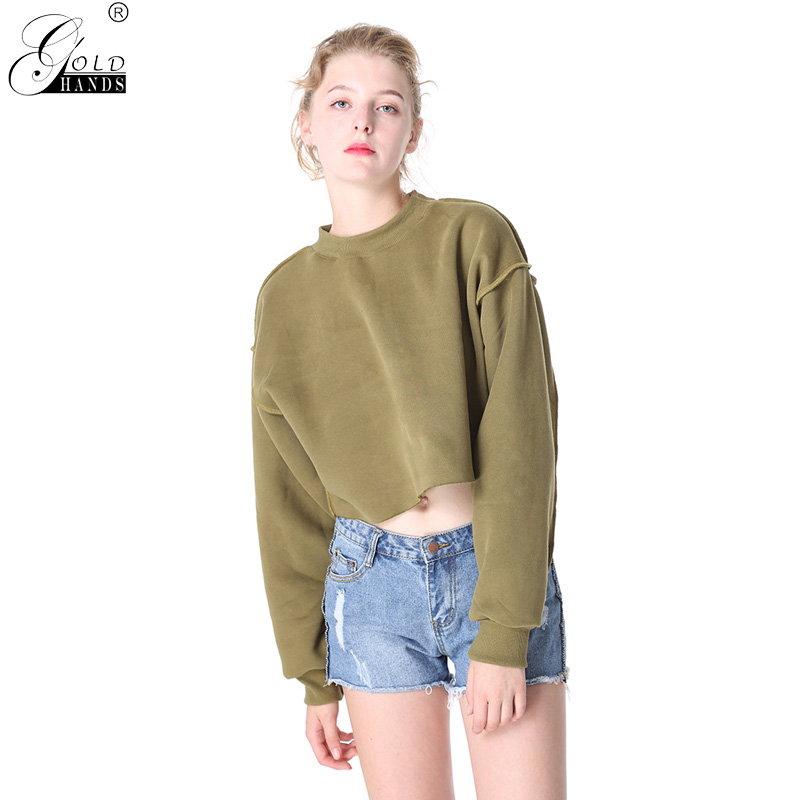 Gold Hands Women Tops Casual Autumn Winter Streetwear Short Loose Solid Single Breasted Fleece Female Hoodies Free Shipping