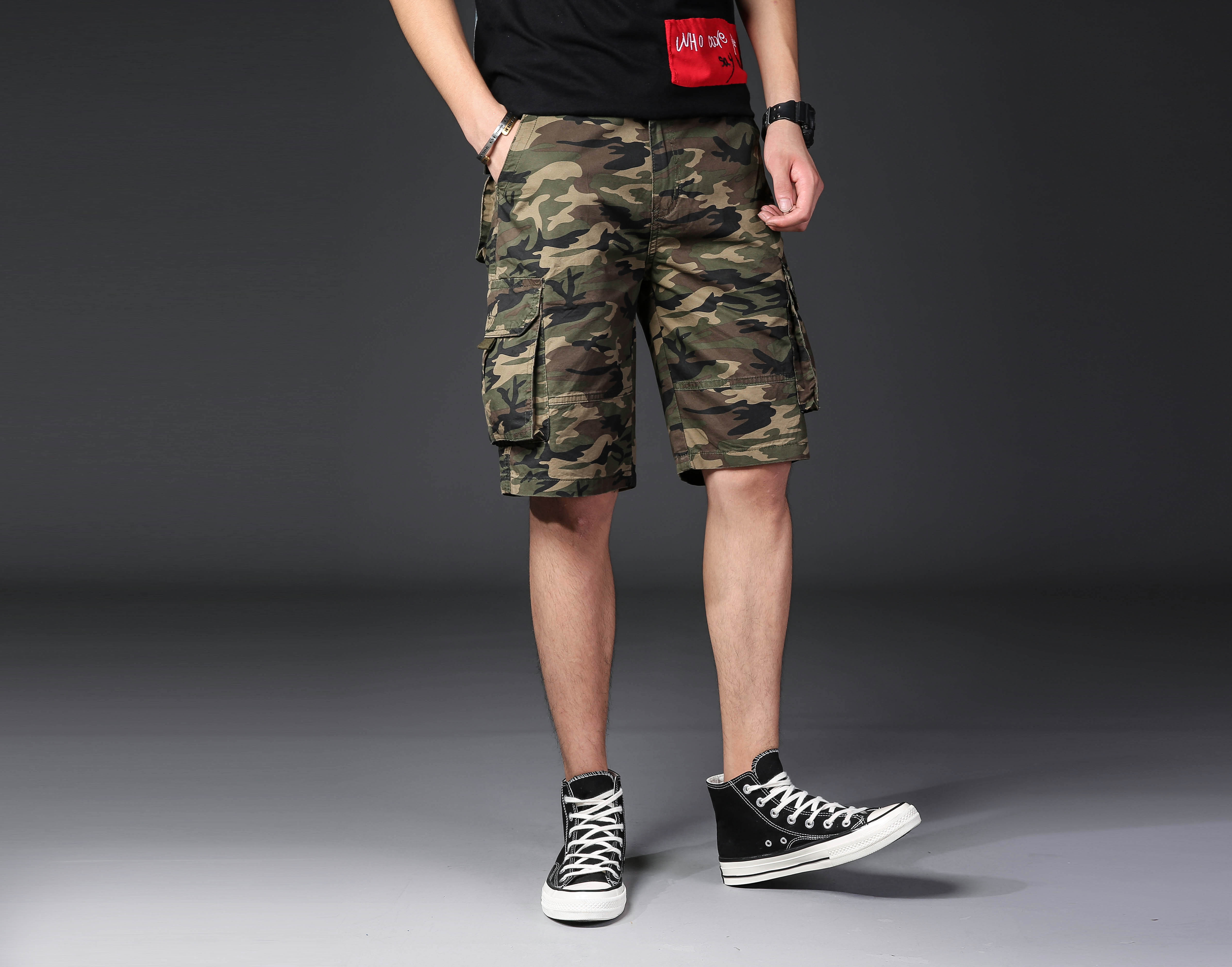 100% Cotton Army Green Camouflage Camo Print Mutil Pockets Military Style Bermuda Cargo Shorts For Men Adults Boys Summer Season