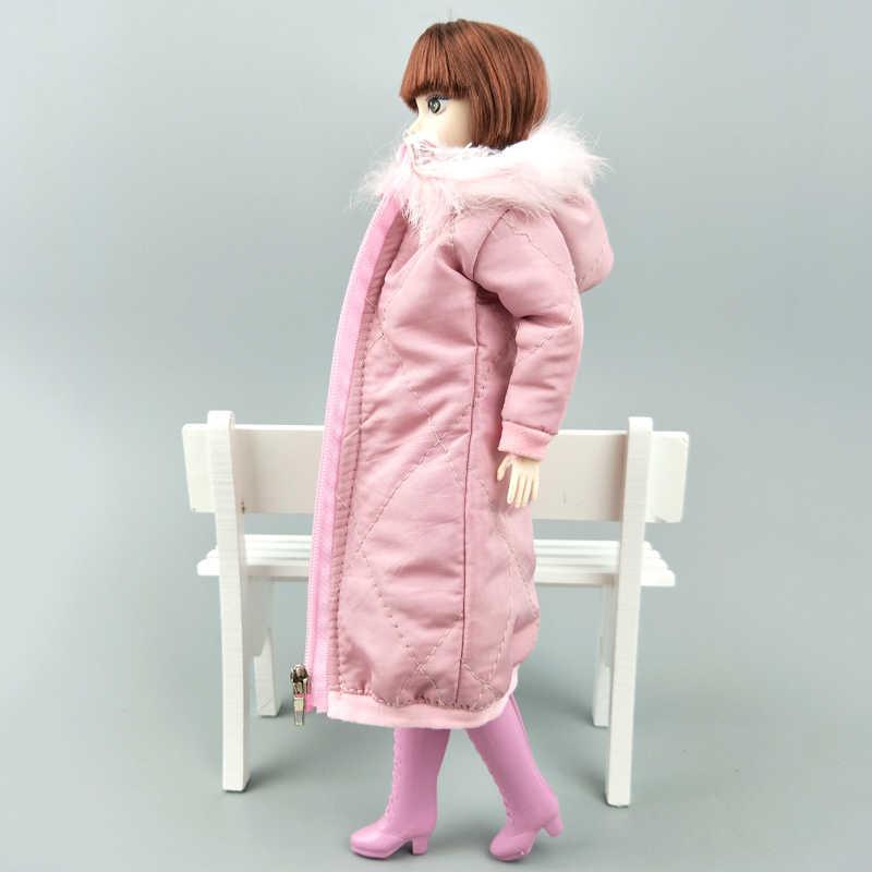 ピンクロング冬コートドレスのためのバービー人形の服パーカー 1/6 BJD 人形冬服のジャケット 1:6 人形アクセサリー子供のおもちゃ