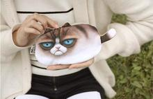 Unisex Cute Animal Cartoon 3D Cat / Dog Face Bag Coin Change Purse Case Wallet Pocket Ladies Workmanship