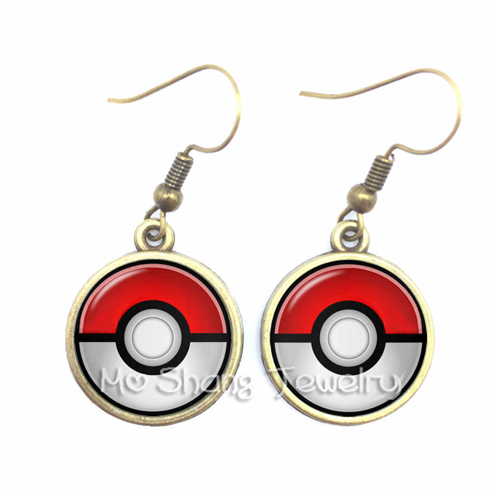 2018 High Quality Silver Plated Glass Cabochon Pokemon Go Ball Dangle Earrings Jewelry For Women Fashion Jewelry