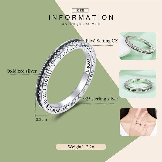 WOSTU 100% Reale 925 Sterling Silver Sempre nel Mio Cuore Anelli Per Le Donne di Fidanzamento Di Modo S925 Gioielli Bel Regalo CQR159