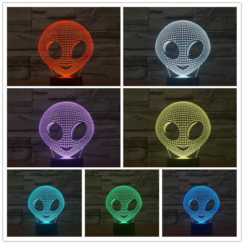 3D Abstract Alien Shape Table Lamp with USB Power LED Night Lamp as Kids Bedroom Decoration