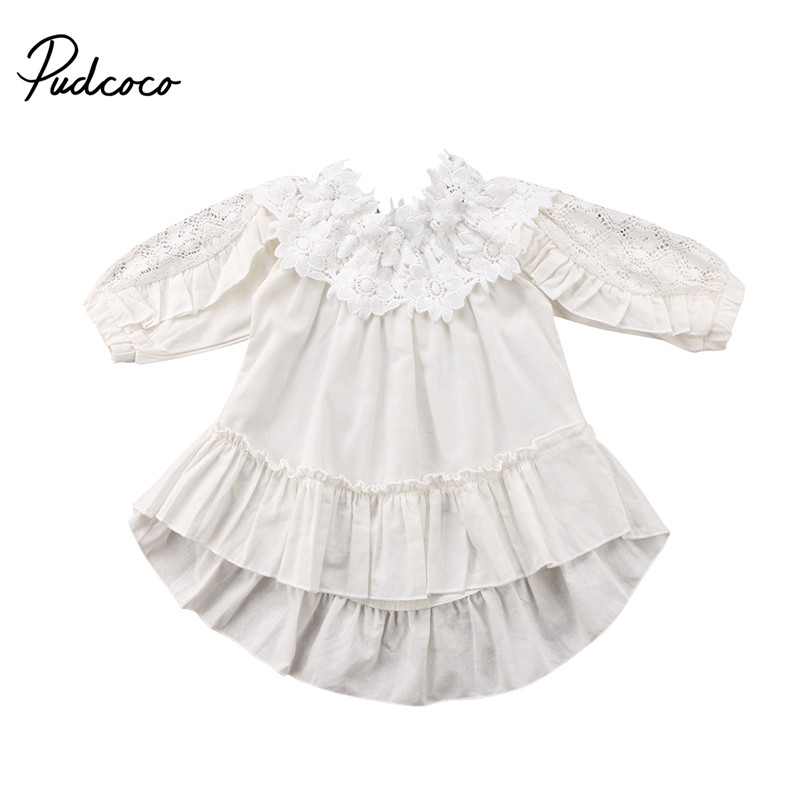 New Style Kids Baby Girls Dress Off Shoulder Dress Princess Ball Gown Party Long Sleeve Dresses Sundress Outfits