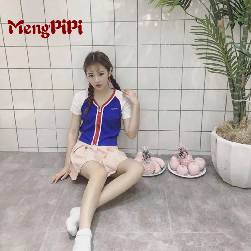 Mengpipi2017 UNIF Front Zip Short Paragraph Knitted Tshirts Sexy V neck Slim Cropped Cardigan Sweater Short