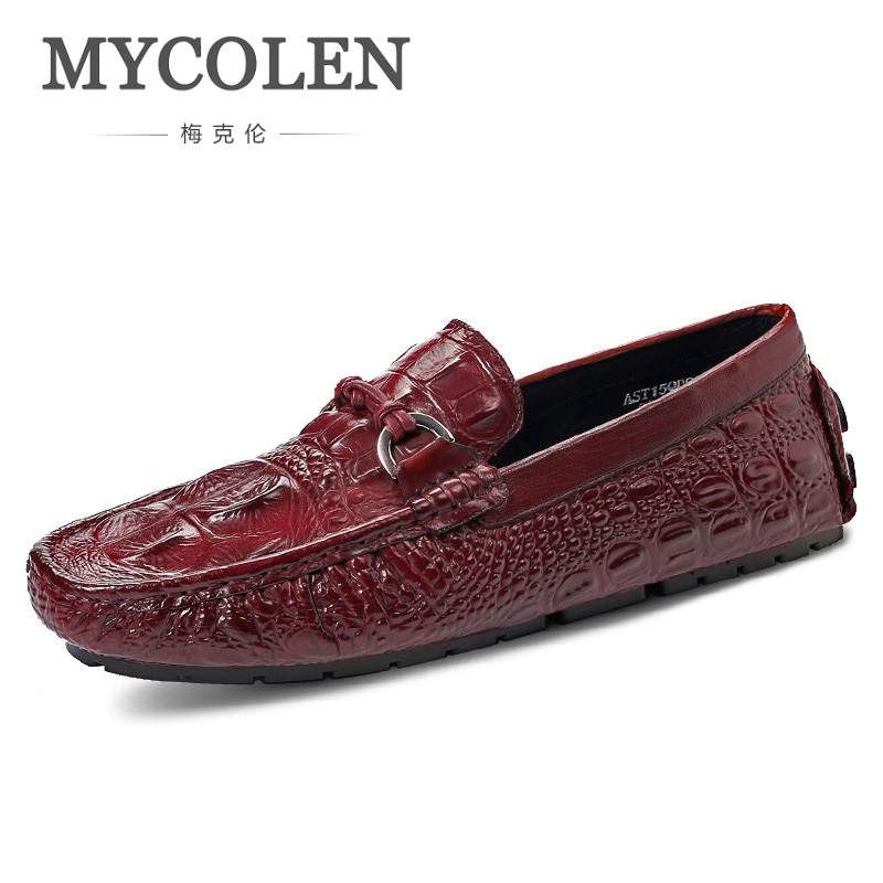 MYCOLEN Spring Autumn Men Loafers Genuine Leather Casual Men Shoes Fashion Crocodile Pattern Driving Shoes Moccasins Flats branded men s penny loafes casual men s full grain leather emboss crocodile boat shoes slip on breathable moccasin driving shoes