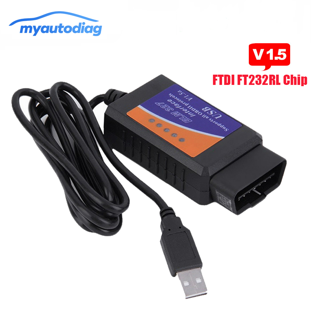 USB OBD II <font><b>ELM327</b></font> USB FTDI FT232RL CHIP V1.5 Auto Diagnose USB Kabel <font><b>Interface</b></font> Unterstützt <font><b>Alle</b></font> <font><b>OBD2</b></font> Protokolle Für Windows image