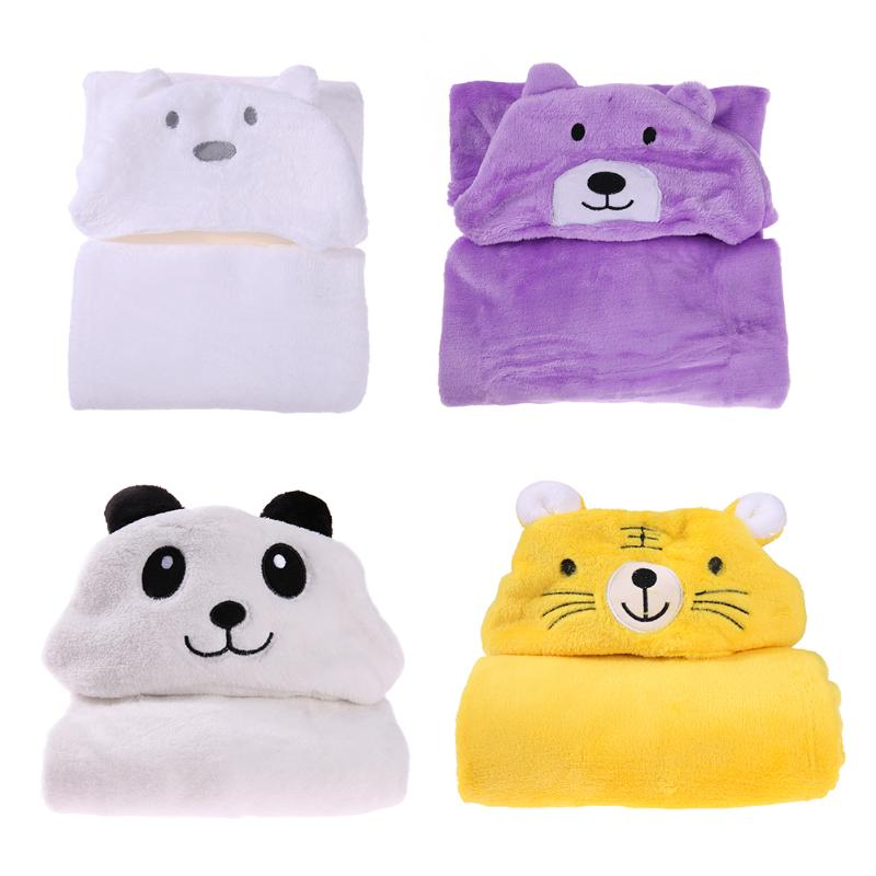 100x69cm Cartoon Baby Receiving Blanket Bath Towel Bathrobe Cute Bear Soft Cashmere Hooded Infant Baby Outdoor Warm Cloak