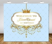 custom gold and baby blue royal little prince crown backgrounds High quality Computer print party photo backdrop