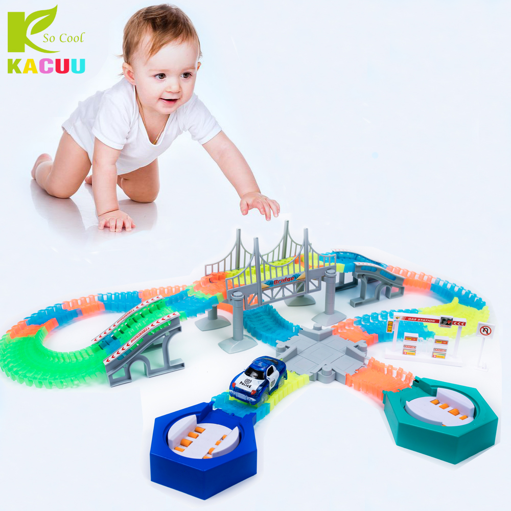 Railway Magical Big Road Light With Railroad Miracle Flexible Glowing Race Track Children's Cars Racing Tracks Toys For Children