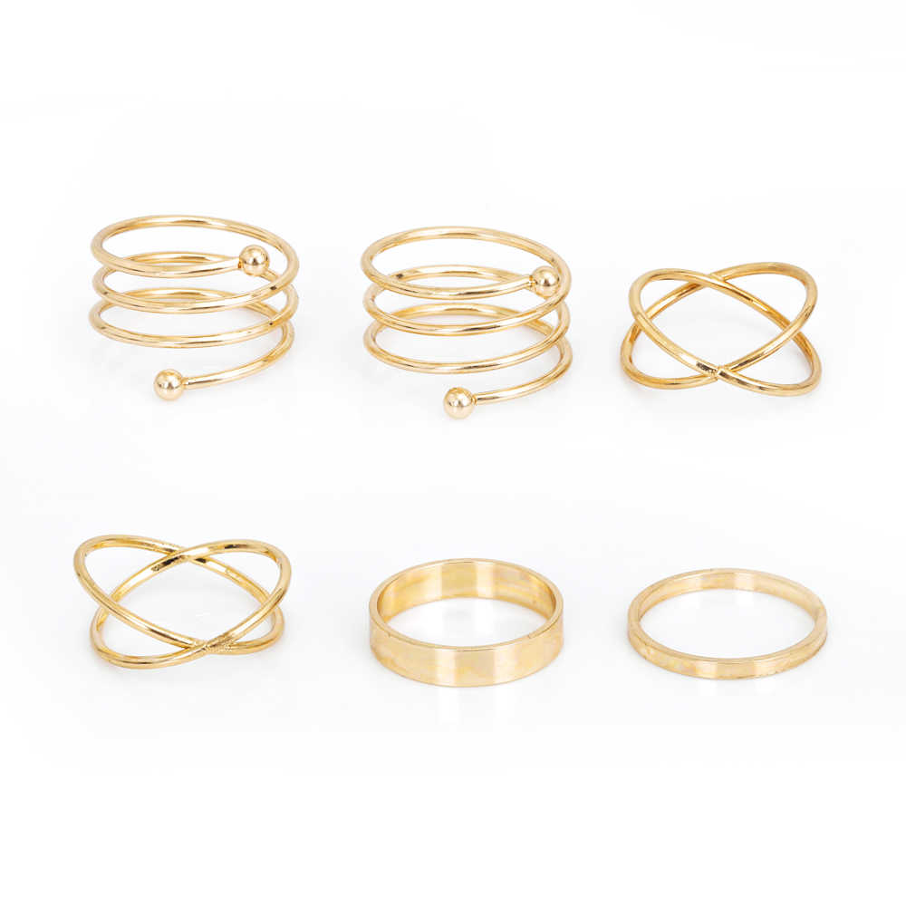 2018 New Hot Unique Ring Set Punk Gold silver Color Knuckle Rings for women Finger Ring gift 6 PCS Ring Set Best Selling 2017