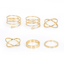 2018 New Hot Unique Ring Set Punk Gold silver Color Knuckle Rings for women Finger Ring gift 6 PCS Ring Set Best Selling 2017(China)