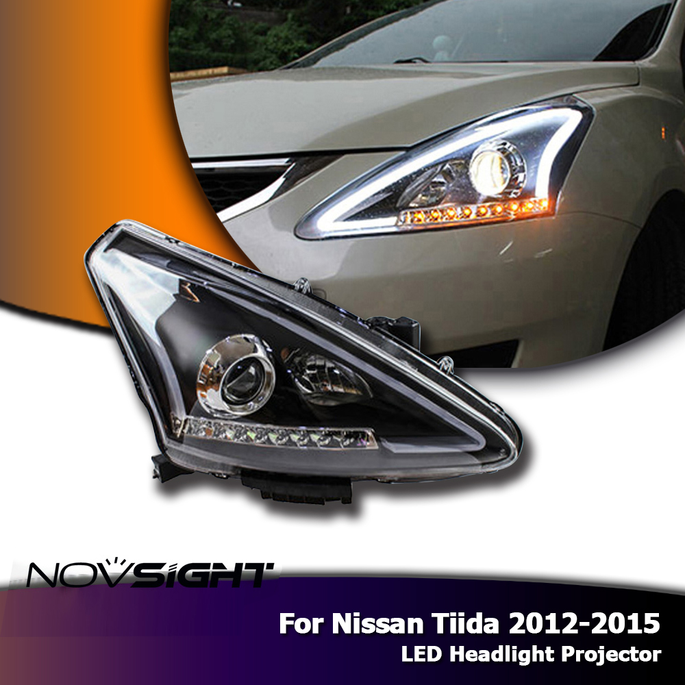 NOVSIGHT 2PCS Car LED Headlights Assembly Projector DRL Fog Light Set For Nissan Tiida 2012-2015 Daylight lyc 6000k led daylight for citroen c4 for nissan led headlights 12v car led lights ip 68 chips offroad work light 40w