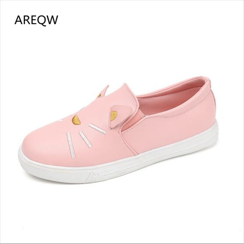 2017 Spring and Autumn new women's singles students flat shoes cute cartoon cat fashion pu breathable female casual shoes цена