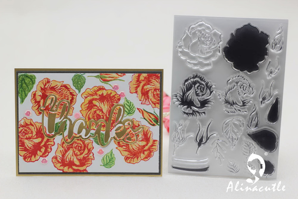 AlinaCraft CLEAR STAMPS Layered Rose Flowers Floral Scrapbook Card Album Paper Craft Rubber