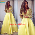 2017 Fashion Yellow Arabic Style Evening Dresses Long Sleeve Deep V-Neck Vestido De Festa Formal Party Gowns Plus Size Handwork