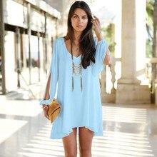 New 2015 Summer Women Dress Elegant V-neck Long Sleeve A-Line Mini Loose Fitting Casual Chiffon vestidos S0137