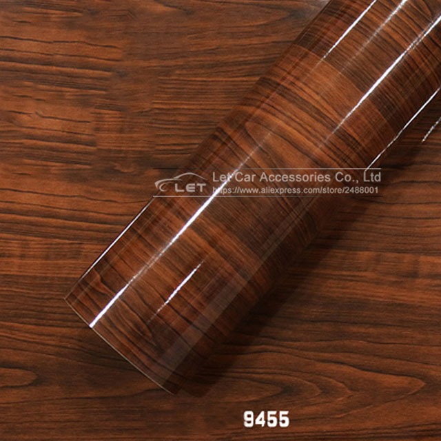 10/20/30/50X152CM Glossy Wood Grain Car Sticker Waterproof Vinyl Film DIY Automobiles Interior Decoration Furniture Decal