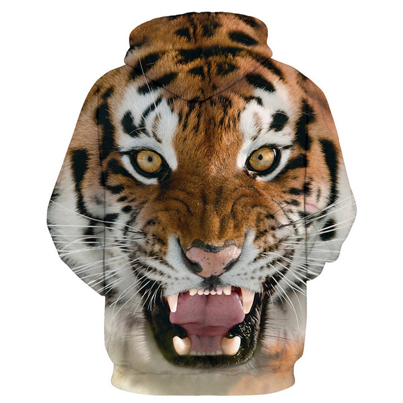Men hip hop hoodies - 3D Tiger 1