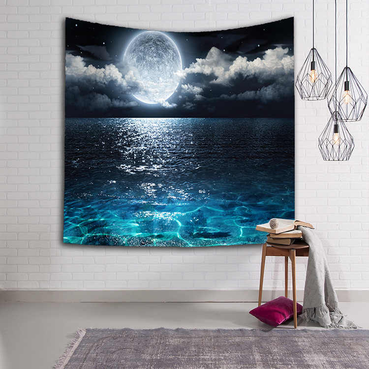 美しい星空ナイトタペストリー壁掛けビーチラウンド銀河タペストリー生地装飾毛布ヨガタペストリー 130 × 150 センチメートル