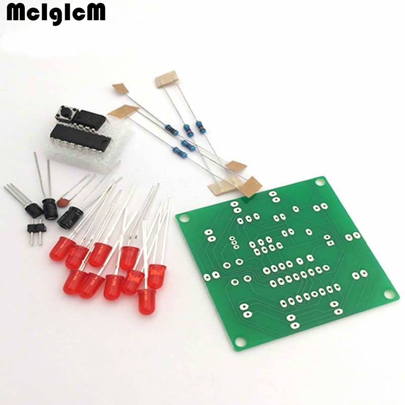 1pcs Round Electronic Lucky Rotary Suite CD4017 NE555 Self DIY LED Light Kit Production Parts and Components New