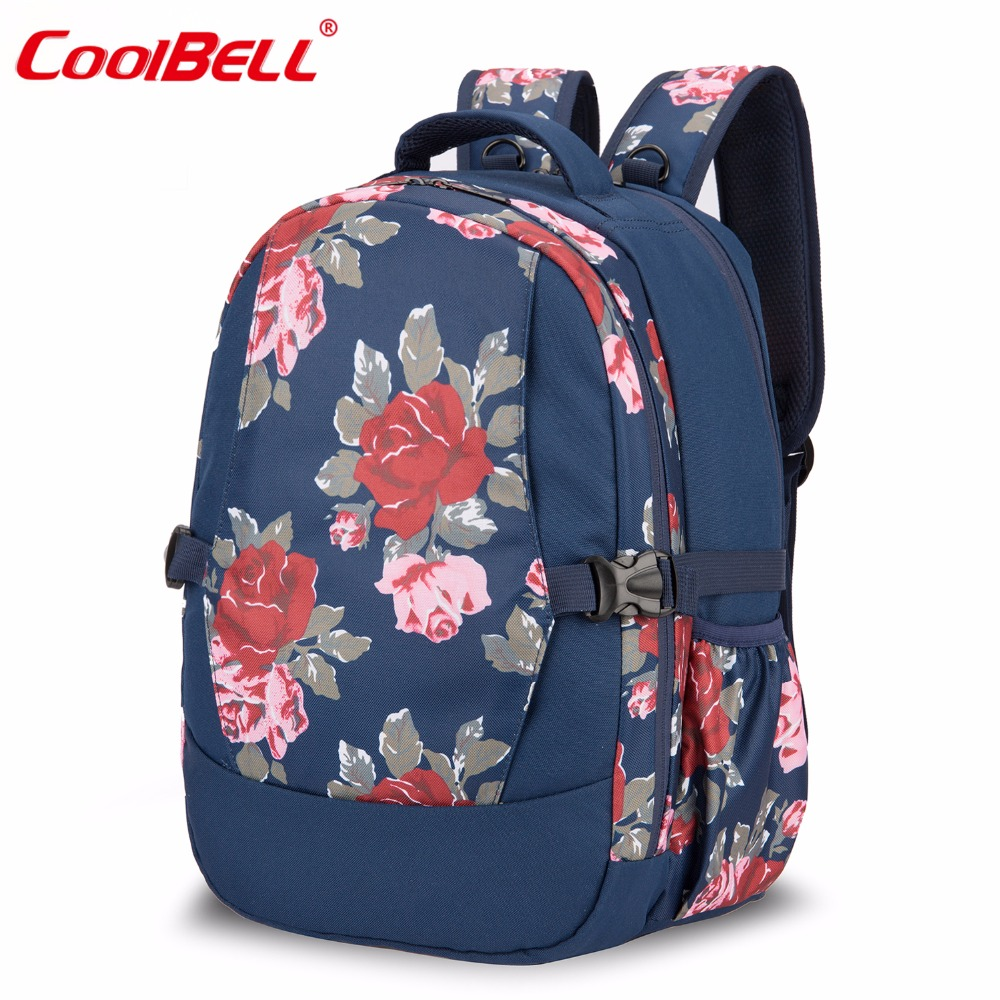 CoolBell Diaper Bag Backpack Baby Stroller Bag Large Capacity Stylish Nappy Bag With Changing Pad and Insulated Bag(Flowers)