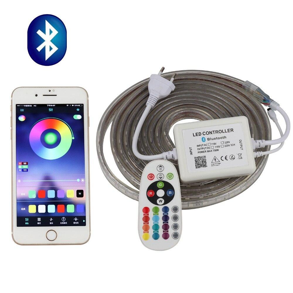 O aplicativo do telefone e o controle remoto rgb conduziram a tira 220 v 220 v waterproof a luz de tira conduzida 60 diodos emissores de luz/m 5050 fita ledstrip stripe fita il