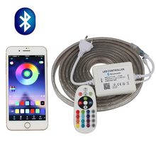 Phone APP and Remote control RGB LED Strip 220V 220 V waterproof LED Strip Light 60 leds/m 5050 ribbon ledstrip stripe tape IL(China)