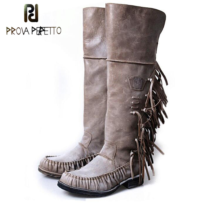 Prova Perfetto New Design Sheepskin Women Over Knee Boots Round Toe Flats Tassels Do Old Retro Style Genuine Leather Knigh Boots prova perfetto 2018 newest genuine leather short boots women rivet belt strap platform flats knigh boots punk style boots female