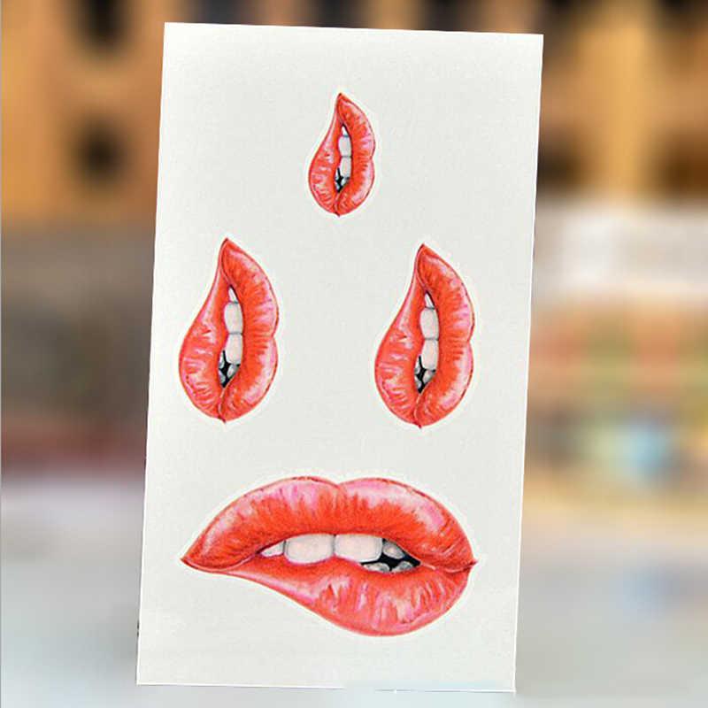 حار بيع 100 قطعة/الوحدة عض الشفاه النساء الجسم فن الوشم ملصقا للنساء وهمية للماء المؤقتة الوشم تصاميم جديدة 10.5X 6 سنتيمتر