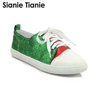 Sianie Tianie autumn spring green blue red glitter bling low top woman oxford shoes lace up casual flats women sneaker shoes