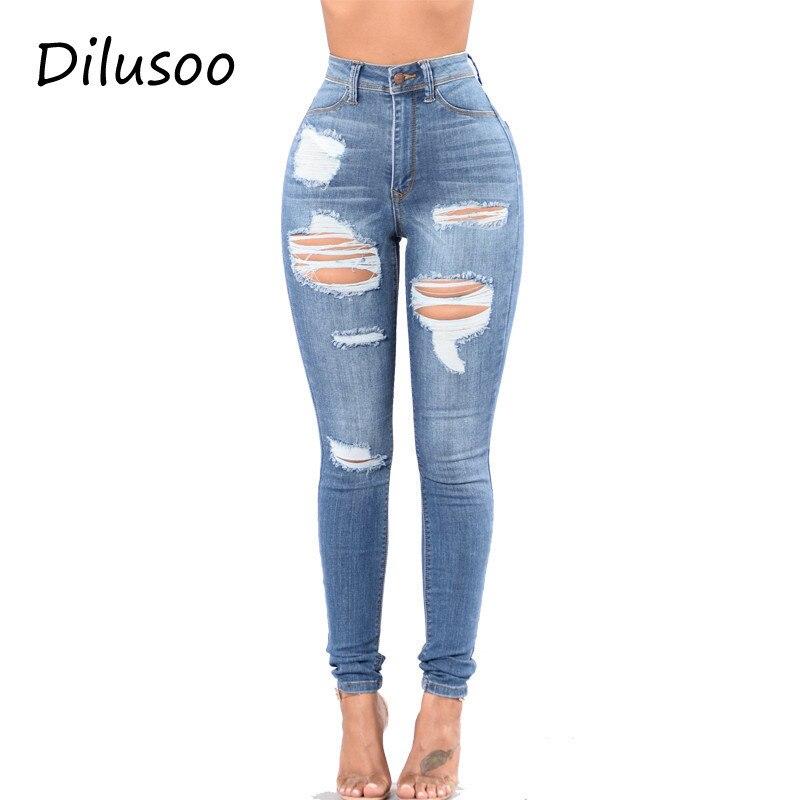 Dilusoo Women High Waist Jeans Pants Elastic Holes Denim Jeans 4 Season Pencil Pants Ripped Women's Casual Jeans Trousers 2020