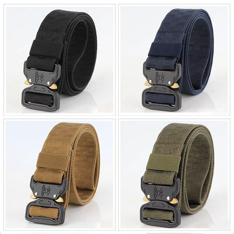 Casual Kniting Belt New 3.8cm Men Women Tactical Belt Military Training Belt Nylon 120cm Cobra Buckle Grid pattern